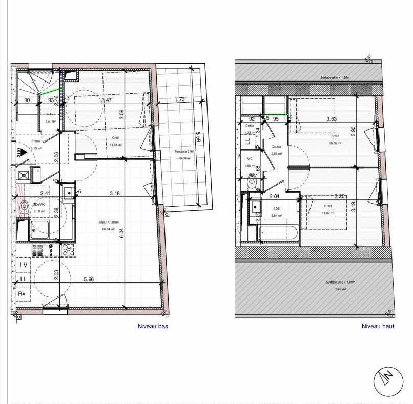 Plan 2101, appartement neuf type T4 au 1er étage, orienté Sud faisant 82m² du programme neuf 1PULSION LOGEMENTS ABORDABLES à Dijon.