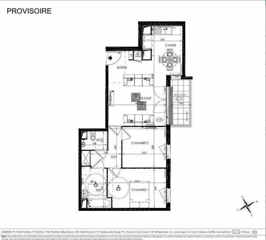 Plan 2101, appartement neuf type T3 au 1er étage, orienté Nord faisant 61m² du programme neuf L'ALISEE à Les Clayes-sous-Bois.