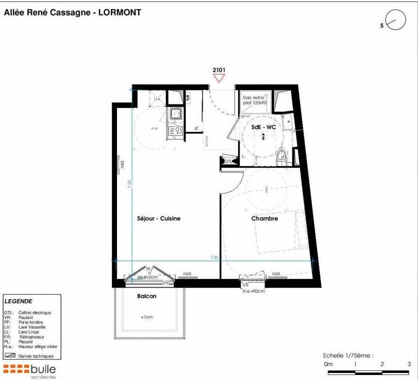 Plan 2101, appartement neuf type T2 au 2ème étage, orienté Est faisant 46m² du programme neuf LES JARDINS D'ANAIS BAT 2 à Lormont.
