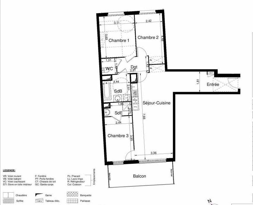 Plan 2101, appartement neuf type T4 au 1er étage, orienté Sud faisant 82m² du programme neuf LES JARDINS D'ARGELIES BÂTIMENT 1 ET 2 à Juvisy-sur-Orge.