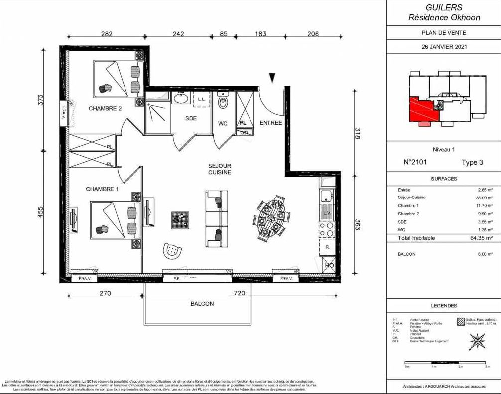 Plan 2101, appartement neuf type T3 au 1er étage, orienté Sud faisant 64m² du programme neuf OKHOON COLLECTIF LIBRE - BAT B OUEST à Guilers.