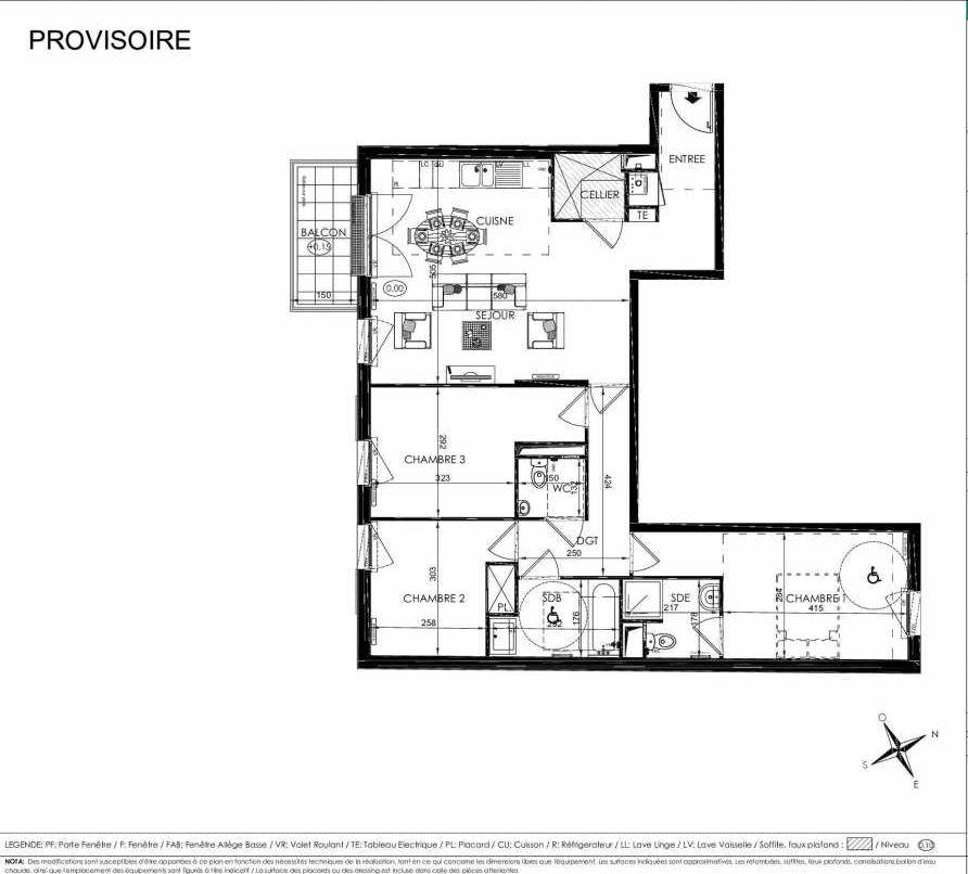 Plan 2102, appartement neuf type T4 au 1er étage, orienté Sud faisant 85m² du programme neuf L'ALISEE à Les Clayes-sous-Bois.