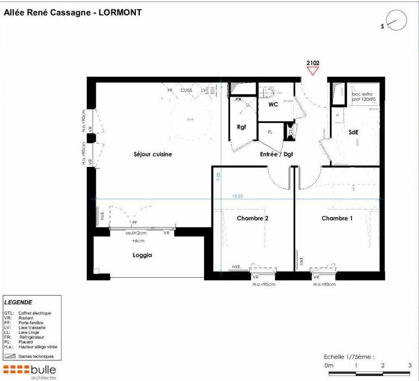 Plan 2102, appartement neuf type T3 au 2ème étage, orienté Est faisant 64m² du programme neuf LES JARDINS D'ANAIS BAT 2 à Lormont.