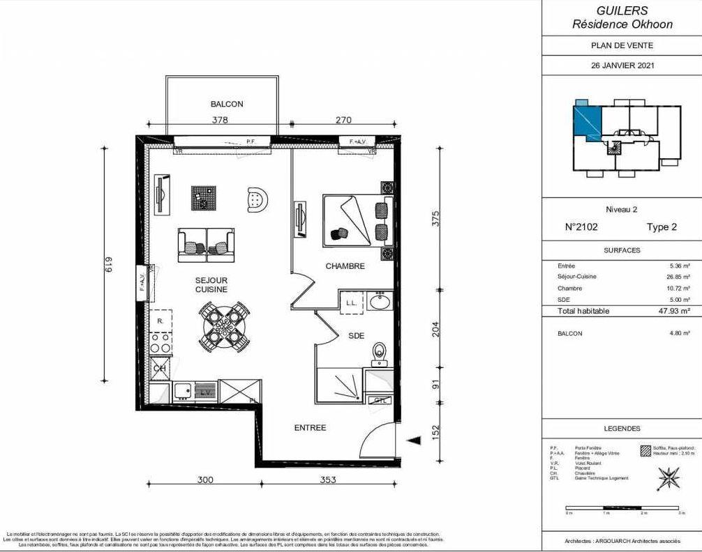 Plan 2102, appartement neuf type T2 au 1er étage, orienté Nord faisant 48m² du programme neuf OKHOON COLLECTIF LIBRE - BAT B OUEST à Guilers.
