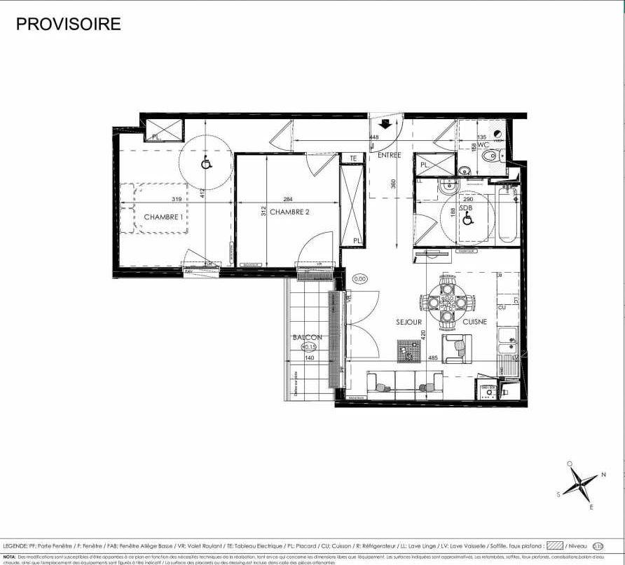 Plan 2103, appartement neuf type T3 au 2ème étage, orienté Sud faisant 61m² du programme neuf L'ALISEE à Les Clayes-sous-Bois.