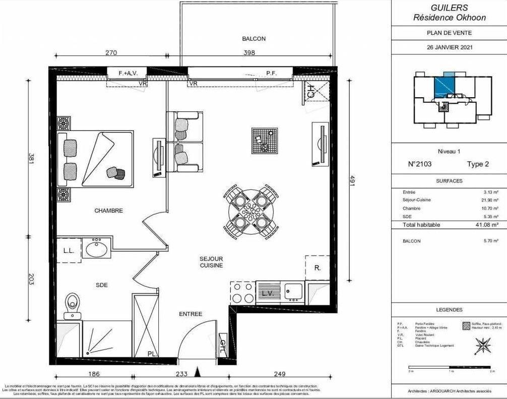 Plan 2103, appartement neuf type T2 au 1er étage, orienté Nord faisant 41m² du programme neuf OKHOON COLLECTIF LIBRE - BAT B OUEST à Guilers.