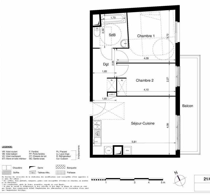 Plan 2104, appartement neuf type T3 au 1er étage, orienté Est faisant 56m² du programme neuf LES JARDINS D'ARGELIES BÂTIMENT 1 ET 2 à Juvisy-sur-Orge.