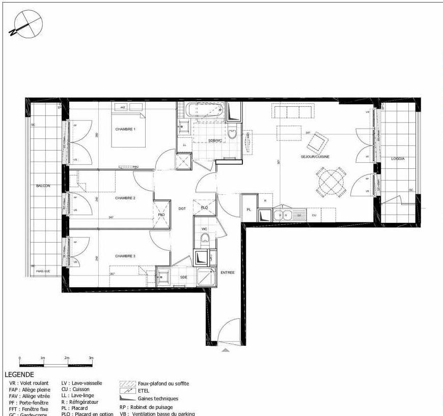 Plan 2105, appartement neuf type T4 au 1er étage, orienté Sud faisant 81m² du programme neuf 11ÈME AVENUE ACCESSION à Eaubonne.