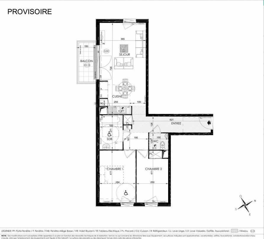 Plan 2105, appartement neuf type T3 au 1er étage, orienté Sud faisant 65m² du programme neuf L'ALISEE à Les Clayes-sous-Bois.