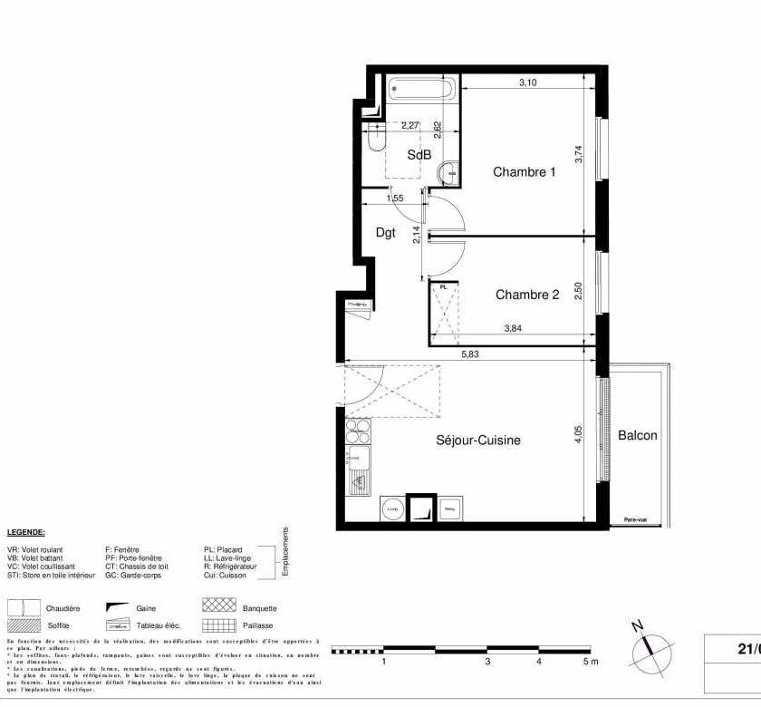 Plan 2105, appartement neuf type T3 au 1er étage, orienté Est faisant 56m² du programme neuf LES JARDINS D'ARGELIES BÂTIMENT 1 ET 2 à Juvisy-sur-Orge.
