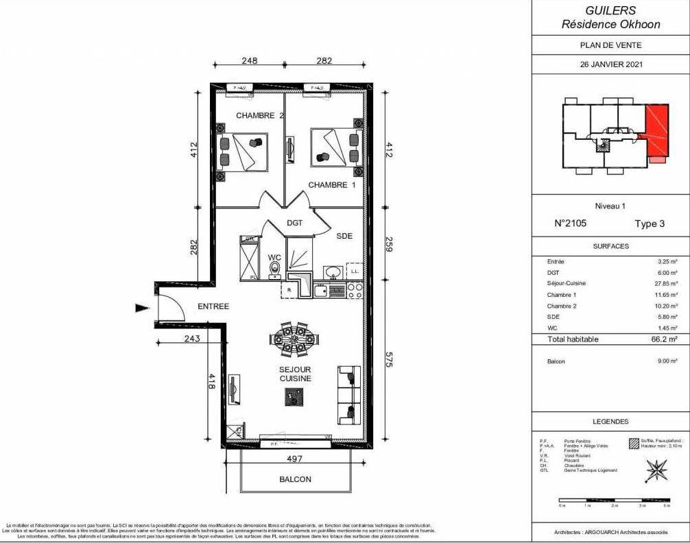 Plan 2105, appartement neuf type T3 au 1er étage, orienté Sud faisant 66m² du programme neuf OKHOON COLLECTIF LIBRE - BAT B OUEST à Guilers.
