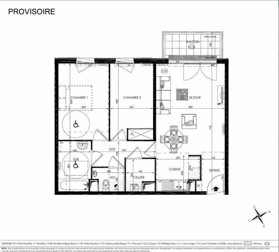 Plan 2106, appartement neuf type T3 au 1er étage, orienté Ouest faisant 63m² du programme neuf L'ALISEE à Les Clayes-sous-Bois.
