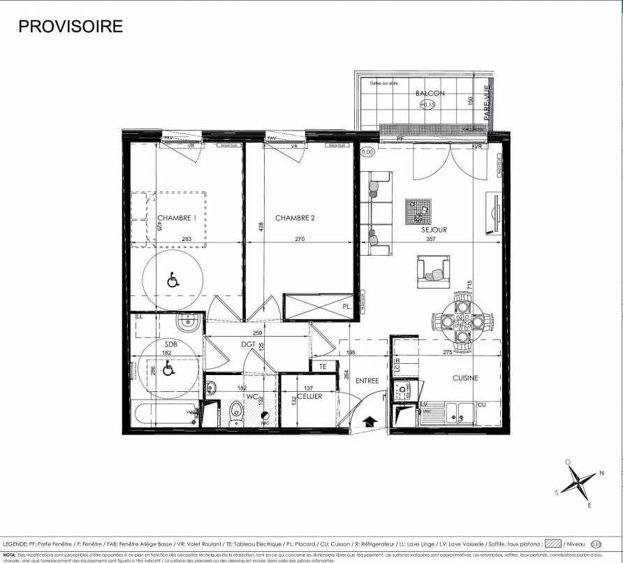 Plan 2107, appartement neuf type T3 au 1er étage, orienté Ouest faisant 63m² du programme neuf L'ALISEE à Les Clayes-sous-Bois.