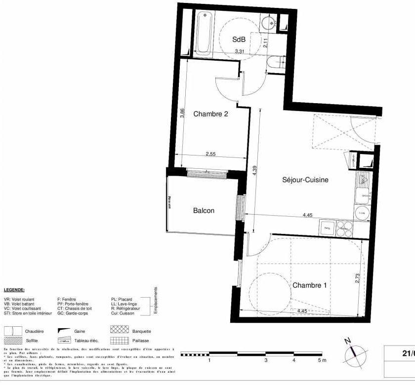 Plan 2107, appartement neuf type T3 au 1er étage, orienté Ouest faisant 49m² du programme neuf LES JARDINS D'ARGELIES BÂTIMENT 1 ET 2 à Juvisy-sur-Orge.