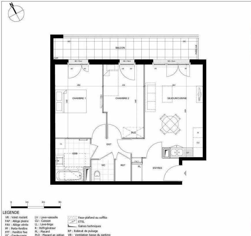 Plan 2109, appartement neuf type T3 au 1er étage, orienté Est faisant 59m² du programme neuf 11ÈME AVENUE ACCESSION à Eaubonne.