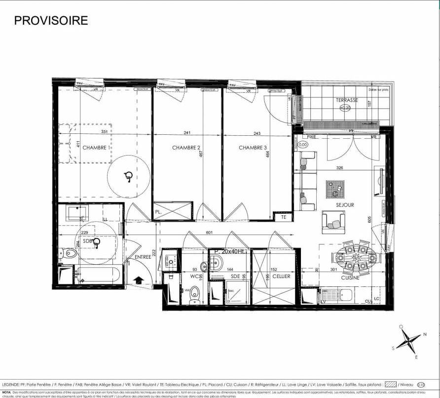 Plan 2109, appartement neuf type T4 au 1er étage, orienté Ouest faisant 76m² du programme neuf L'ALISEE à Les Clayes-sous-Bois.