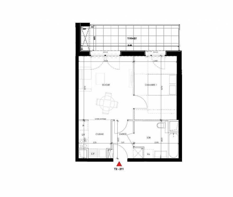 Plan 211, appartement neuf type T2 au 1er étage, orienté Nord faisant 42m² du programme neuf 2 PRIEURE BATIMENT 2 à Saint-Germain-en-Laye.
