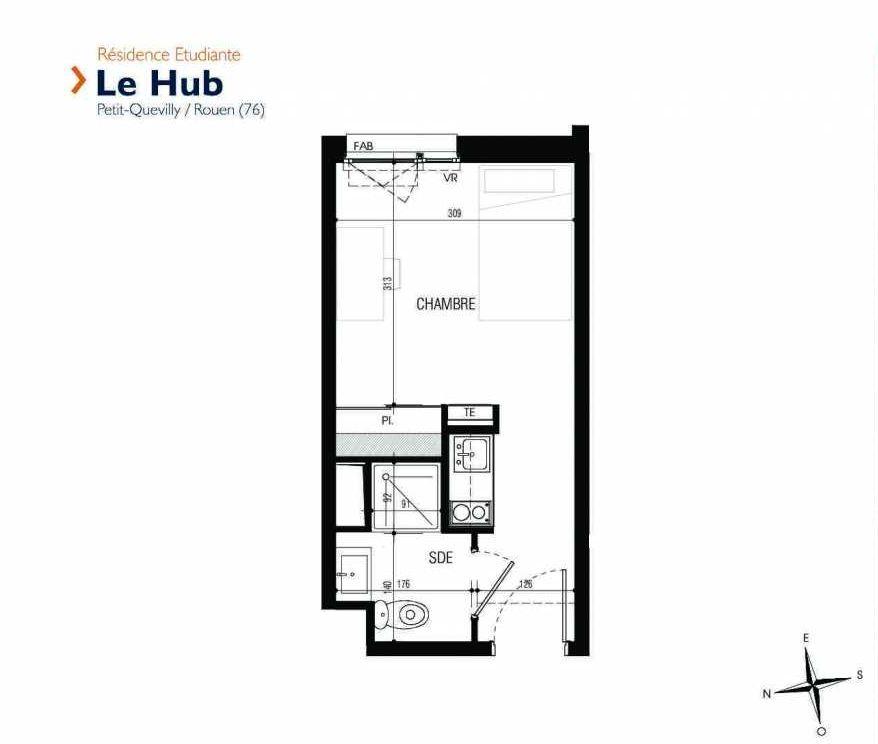 Plan 211, appartement neuf type T1 au 2ème étage, faisant 18m² du programme neuf Le Hub à Le Petit-Quevilly.