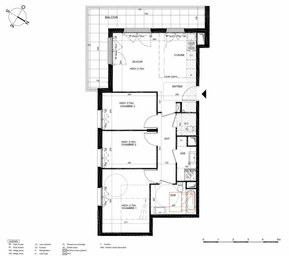 Plan 211, appartement neuf type T4 au 1er étage, orienté Sud faisant 74m² du programme neuf LES JARDINS BALZAC BAT 3 à Argenteuil.