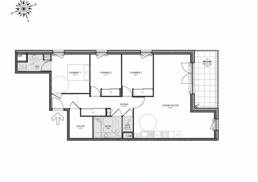 Plan 211, appartement neuf type T4 au 1er étage, orienté Est faisant 90m² du programme neuf Villas Aravis à Saint-Pierre-en-Faucigny.
