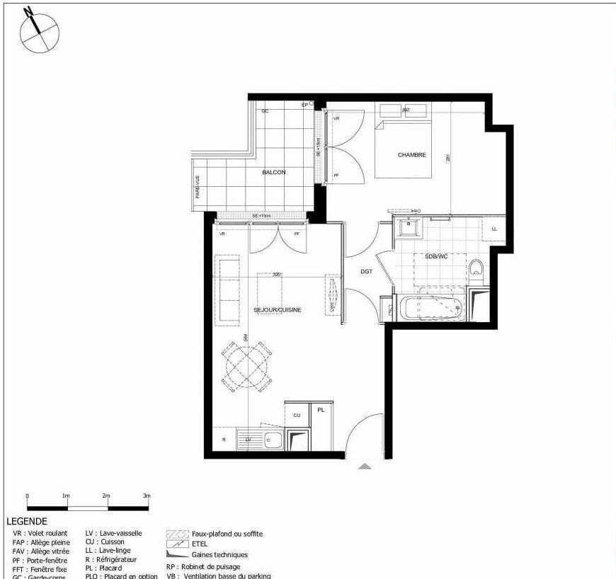 Plan 2110, appartement neuf type T2 au 1er étage, orienté Ouest faisant 42m² du programme neuf 11ÈME AVENUE ACCESSION à Eaubonne.