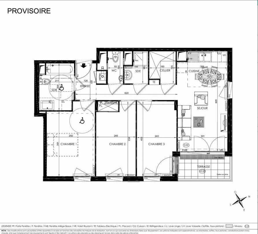 Plan 2110, appartement neuf type T4 au 1er étage, orienté Est faisant 72m² du programme neuf L'ALISEE à Les Clayes-sous-Bois.