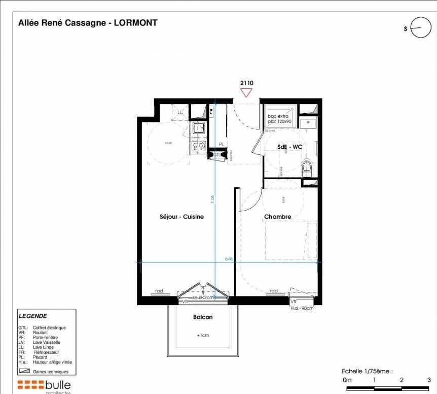 Plan 2110, appartement neuf type T2 au 2ème étage, orienté Est faisant 43m² du programme neuf LES JARDINS D'ANAIS BOTERO à Lormont.