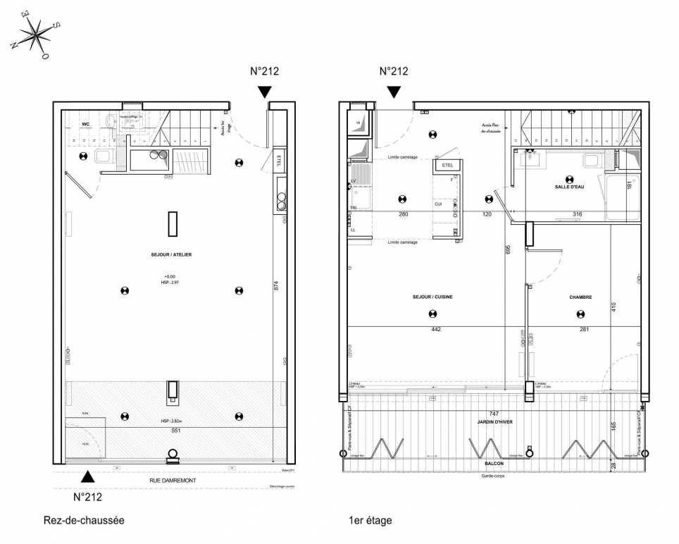 Plan 212, appartement neuf type T3 au 1er étage, faisant 89m² du programme neuf 122 Damremont à Paris.