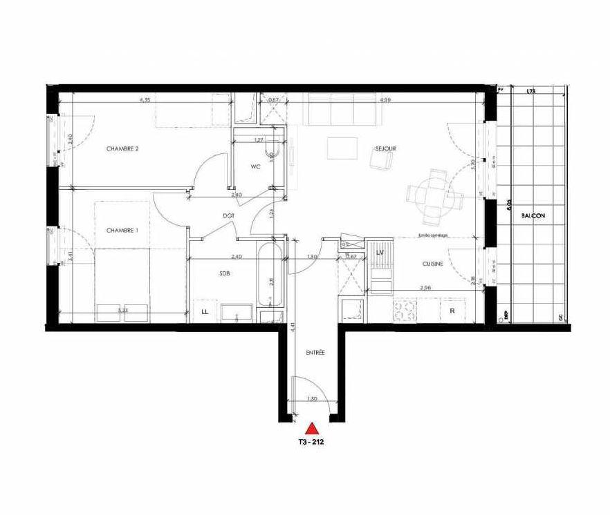 Plan 212, appartement neuf type T3 au 1er étage, orienté Sud faisant 63m² du programme neuf 2 PRIEURE BATIMENT 2 à Saint-Germain-en-Laye.