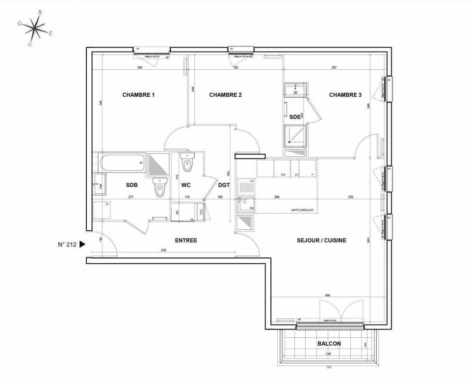Plan 212, appartement neuf type T4 au 1er étage, orienté Sud faisant 81m² du programme neuf L'Intemporel à Thiais.