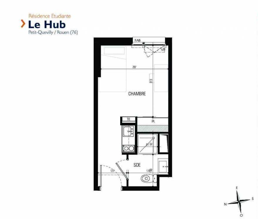 Plan 212, appartement neuf type T1 au 2ème étage, faisant 18m² du programme neuf Le Hub à Le Petit-Quevilly.