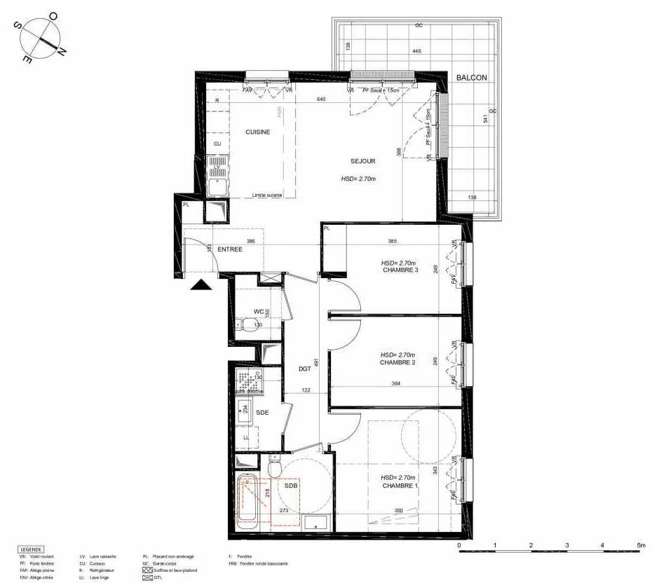 Plan 212, appartement neuf type T4 au 1er étage, orienté Sud faisant 77m² du programme neuf LES JARDINS BALZAC BAT 3 à Argenteuil.