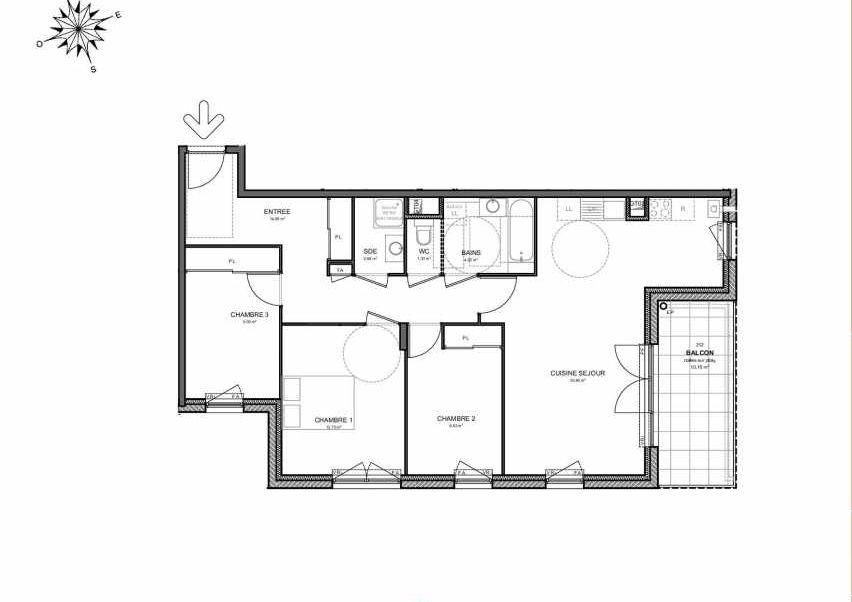 Plan 212, appartement neuf type T4 au 1er étage, orienté Sud faisant 87m² du programme neuf Villas Aravis à Saint-Pierre-en-Faucigny.