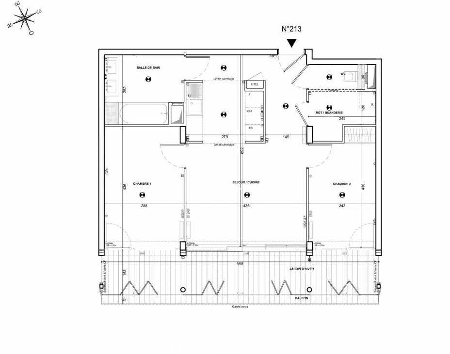 Plan 213, appartement neuf type T4 au 1er étage, faisant 64m² du programme neuf 122 DAMREMONT à Paris.