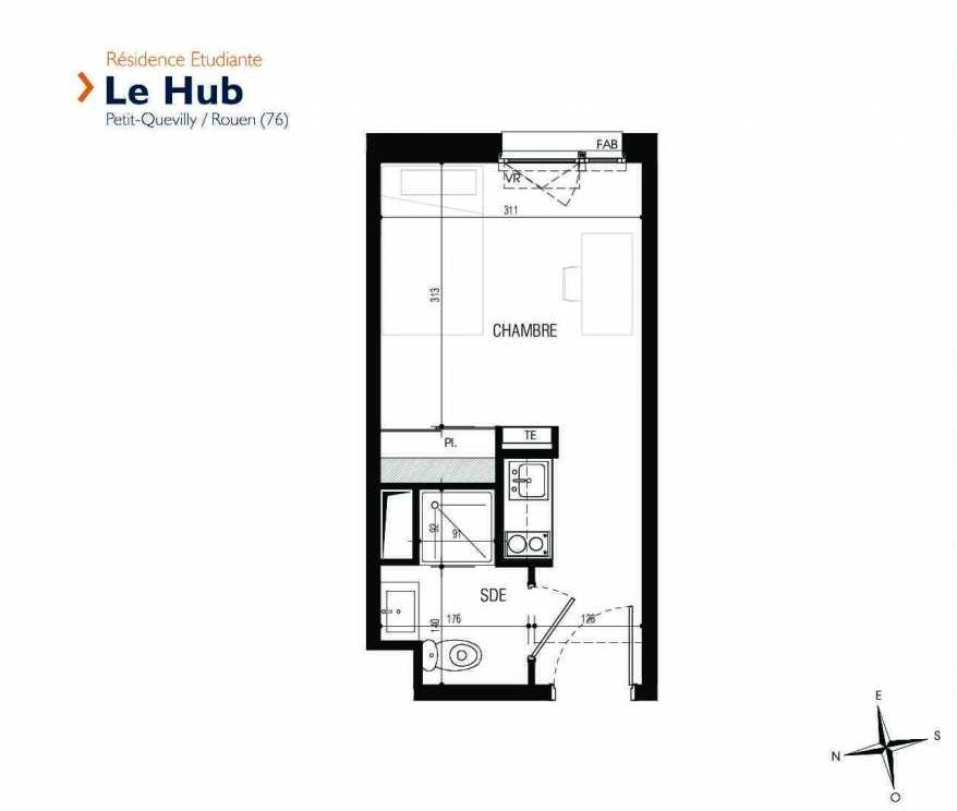 Plan 213, appartement neuf type T1 au 2ème étage, faisant 18m² du programme neuf Le Hub à Le Petit-Quevilly.