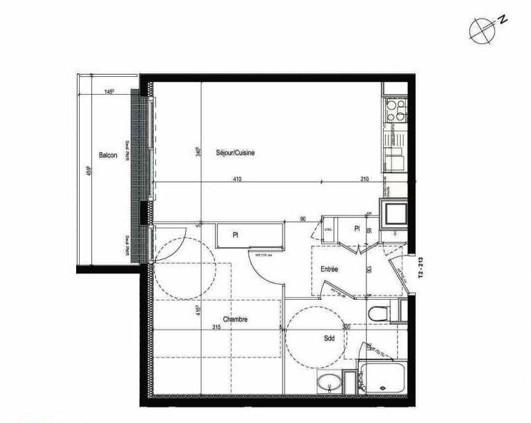 Plan 213, appartement neuf type T2 au 2ème étage, faisant 45m² du programme neuf Les Boréales à Rouen.