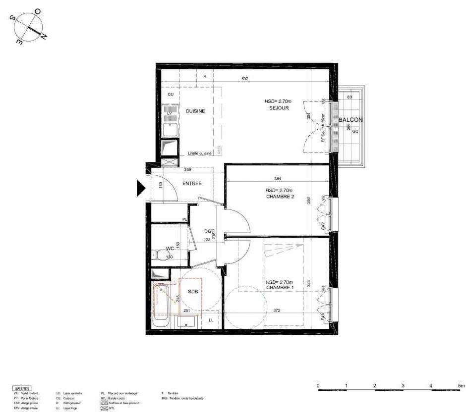 Plan 213, appartement neuf type T3 au 1er étage, orienté Nord faisant 54m² du programme neuf LES JARDINS BALZAC BAT 3 à Argenteuil.