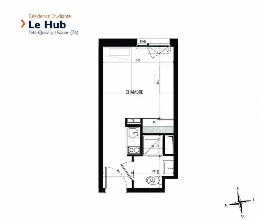 Plan 214, appartement neuf type T1 au 2ème étage, faisant 18m² du programme neuf Le Hub à Le Petit-Quevilly.