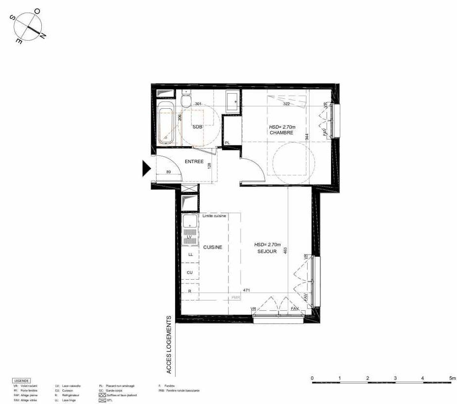 Plan 214, appartement neuf type T2 au 1er étage, orienté Nord faisant 42m² du programme neuf LES JARDINS BALZAC BAT 3 à Argenteuil.