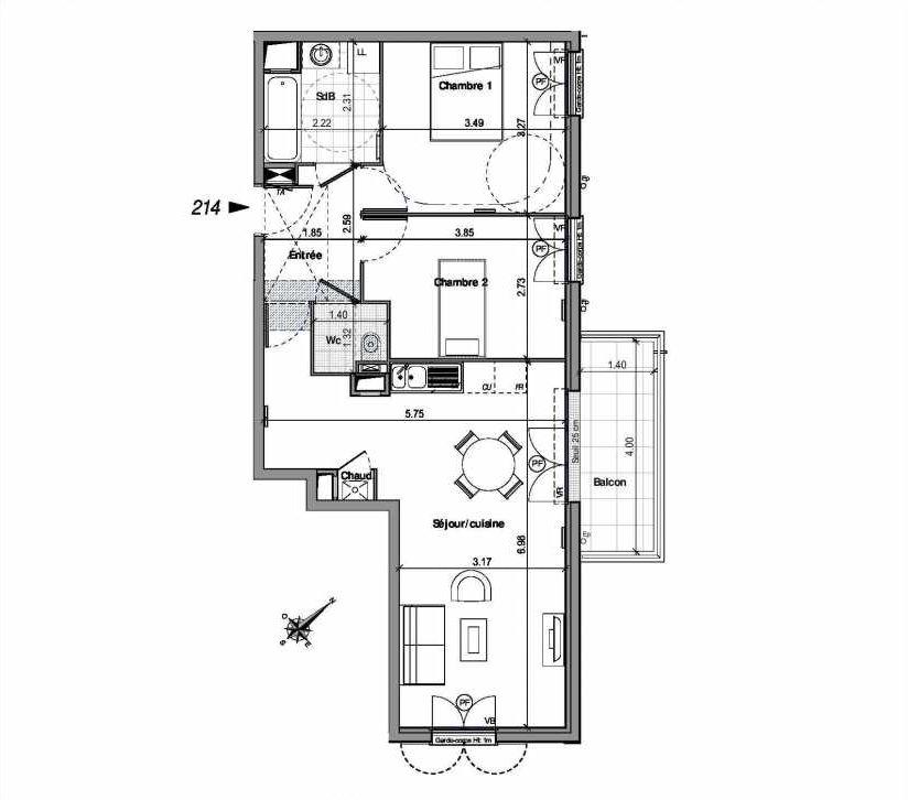 Plan 214, appartement neuf type T3 au 1er étage, orienté Nord faisant 61m² du programme neuf VILLA LOUISE BAT B - 201 A 224 à Andilly.