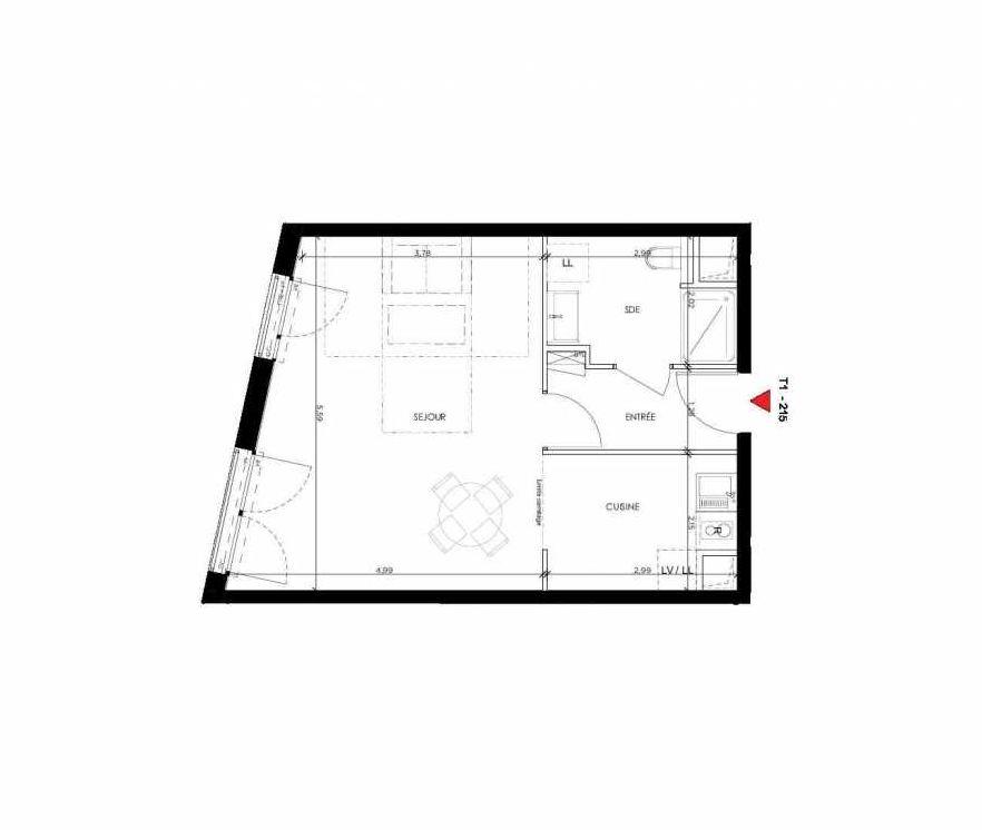 Plan 215, appartement neuf type T1 au 1er étage, orienté Ouest faisant 40m² du programme neuf 2 PRIEURE BATIMENT 2 à Saint-Germain-en-Laye.