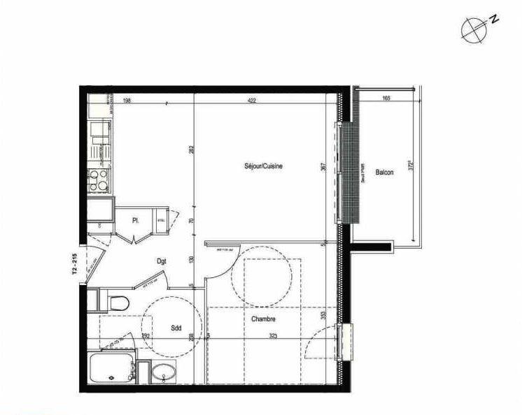 Plan 215, appartement neuf type T2 au 2ème étage, faisant 43m² du programme neuf Les Boréales à Rouen.
