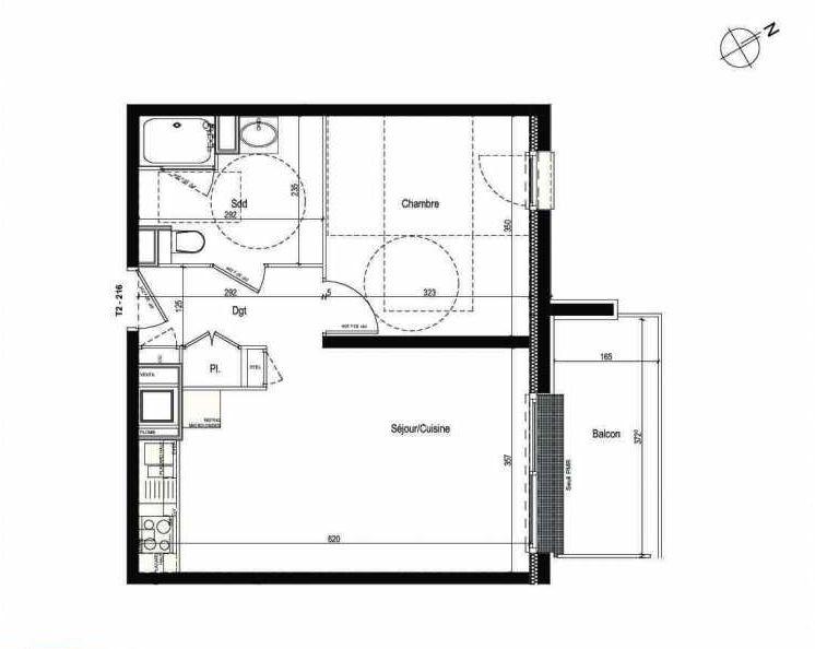 Plan 216, appartement neuf type T2 au 2ème étage, faisant 42m² du programme neuf Les Boréales à Rouen.