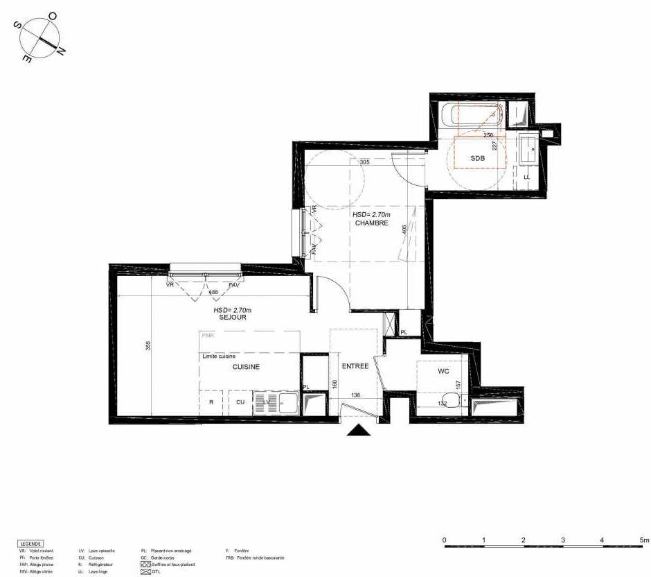 Plan 217, appartement neuf type T2 au 1er étage, orienté Sud faisant 43m² du programme neuf LES JARDINS BALZAC BAT 3 à Argenteuil.
