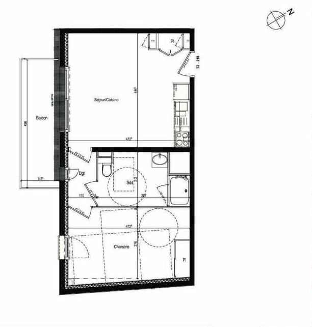 Plan 218, appartement neuf type T2 au 2ème étage, faisant 43m² du programme neuf Les Boréales à Rouen.