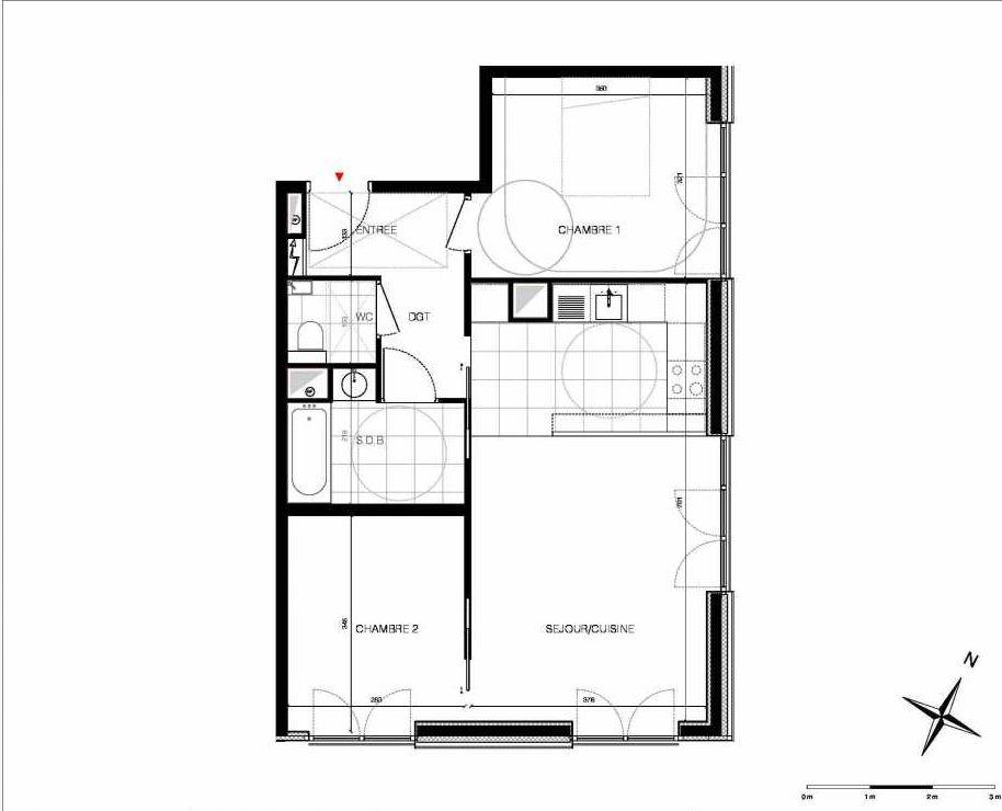 Plan 22, appartement neuf type T3 au 2ème étage, orienté Est faisant 62m² du programme neuf CUBIK - PARIS 13 à Paris.