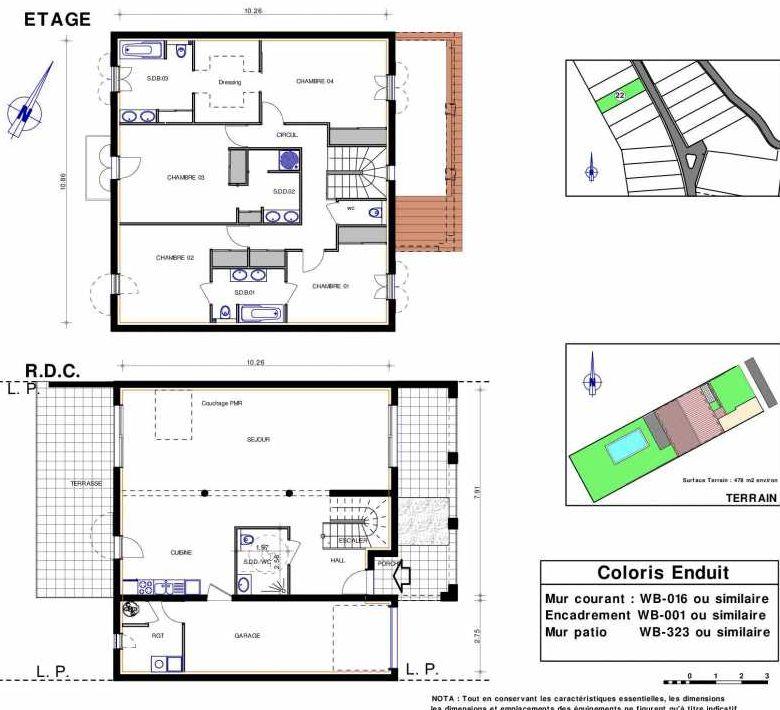 Plan 22, appartement neuf type T5 au Rez de chaussée, orienté Sud faisant 182m² du programme neuf LES JARDINS D'ADELAIDE à Grimaud.