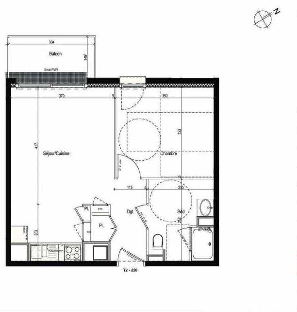 Plan 220, appartement neuf type T2 au 2ème étage, faisant 42m² du programme neuf Les Boréales à Rouen.