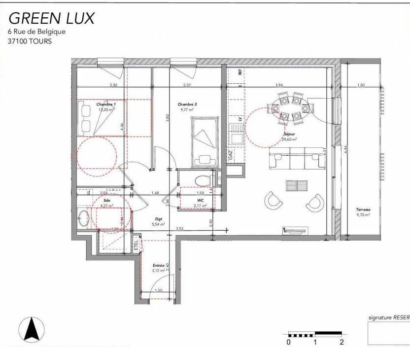 Plan 2201, appartement neuf type T3 au 2ème étage, orienté Nord faisant 62m² du programme neuf GREEN LUX VENTE ED BAT 2 à Tours.