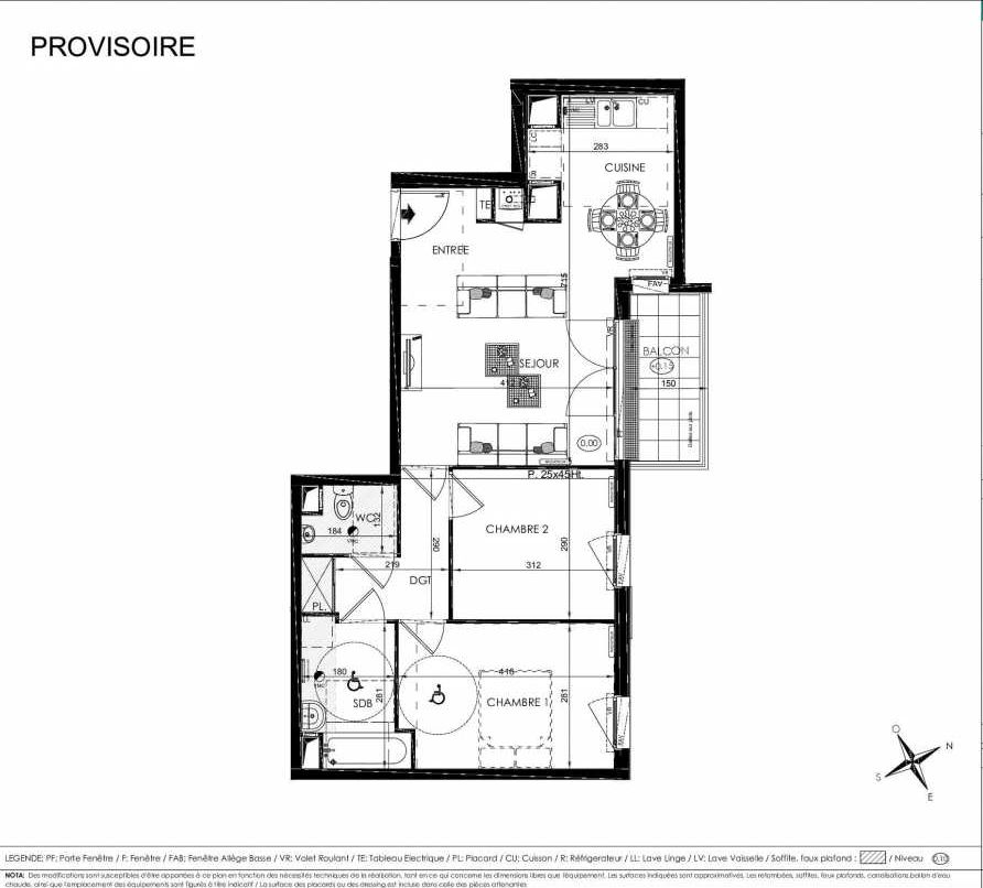Plan 2201, appartement neuf type T3 au 2ème étage, orienté Nord faisant 61m² du programme neuf L'ALISEE à Les Clayes-sous-Bois.